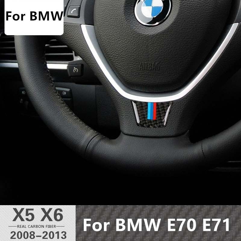 Carbon Fiber Car Steering Wheel Sticker M stripe Emblem Stickers for BMW E71 E70 X5 2006-2013 X6 2008-2015 M Performance Xdrive car styling carbon fiber rear view mirror cover for bmw x5 e70 x6 e71 2007 2013