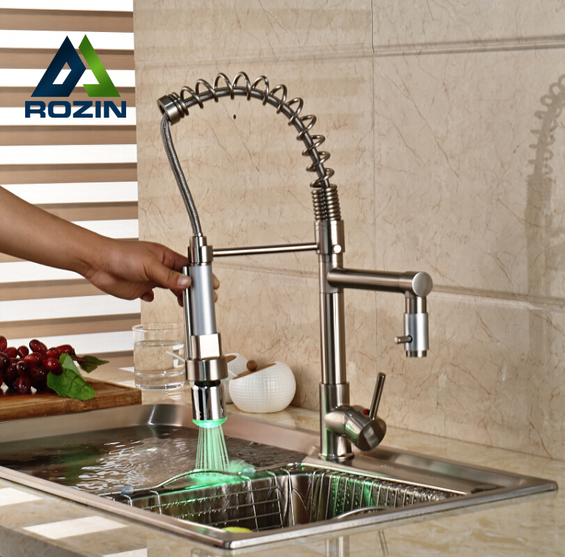 ФОТО Swivel Spout Kitchen Faucet LED Light Pull Down Sprayer Mixer Tap Brushed Nickel with Hot Cold Water