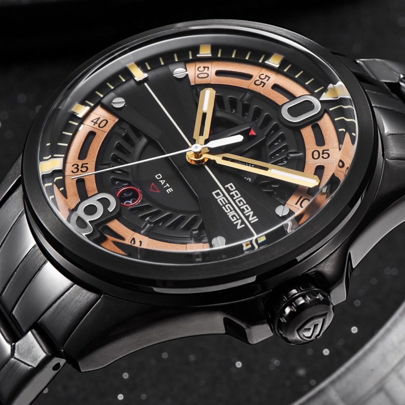 купить Luxury Brand PAGANI DESIGN Men Watches Reloj Hombre Casual Fashion Calendar Waterproof Quartz Black Gold Watch Relogio Masculino недорого