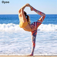 Oyoo الرجعية هندسية مطبوعة لياقة تجريب gym اليوغا السراويل النساء بوهيميا الملونة طماق rainbow الجوارب الرياضية الملابس