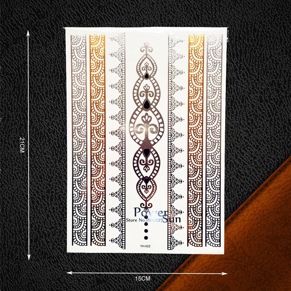 clsico de oro de plata tatuaje temporal pegatinas diseo de joyas pulsera de cadena de encaje