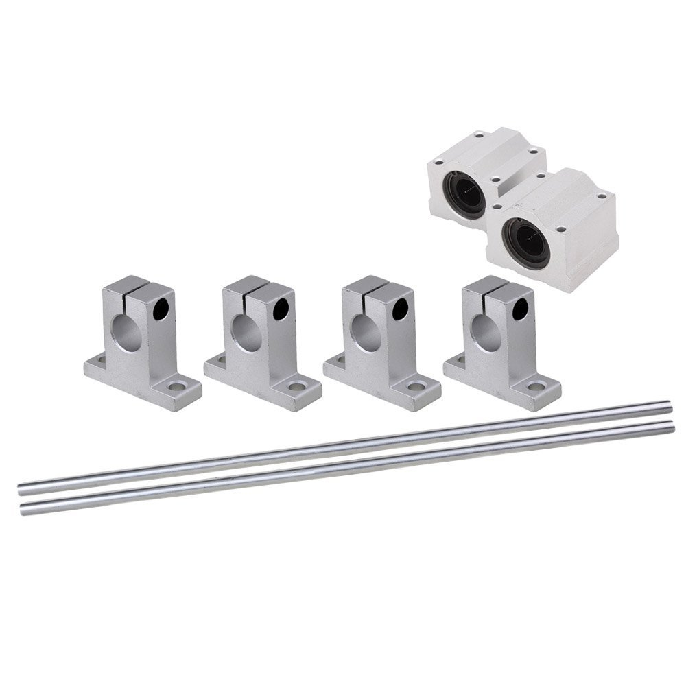 Silver 12MM Dia Cylinder Linear Shaft Optical Axis L500mm&CNC Ball Slide Units Linear Rail Support with Linear Bearing Set of 8 tbr30l uu slide linear bearings widen and long type cylinder axis tbr30 linear motion ball silide units cnc parts high quality