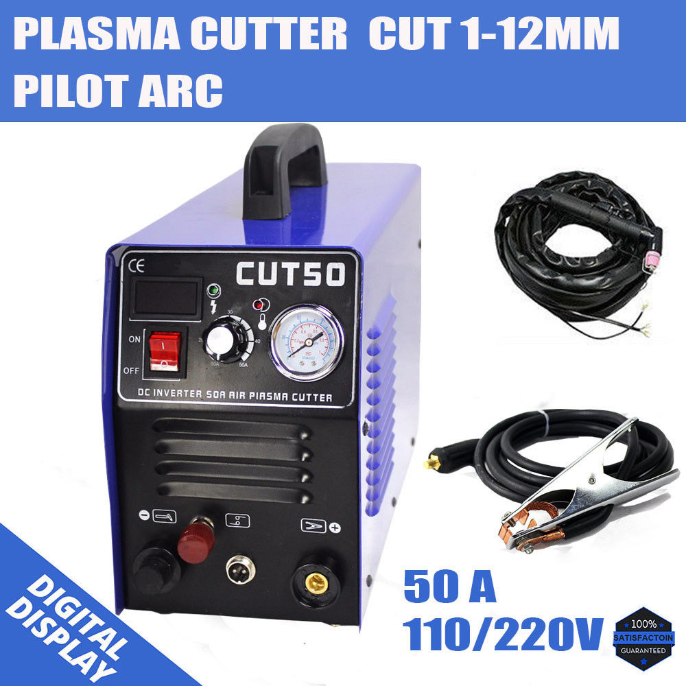 Plasma Cutter CUT50 Pilot Arc 50A 110/220V CNC Compatible Accessories & 1-12mmPlasma Cutter CUT50 Pilot Arc 50A 110/220V CNC Compatible Accessories & 1-12mm