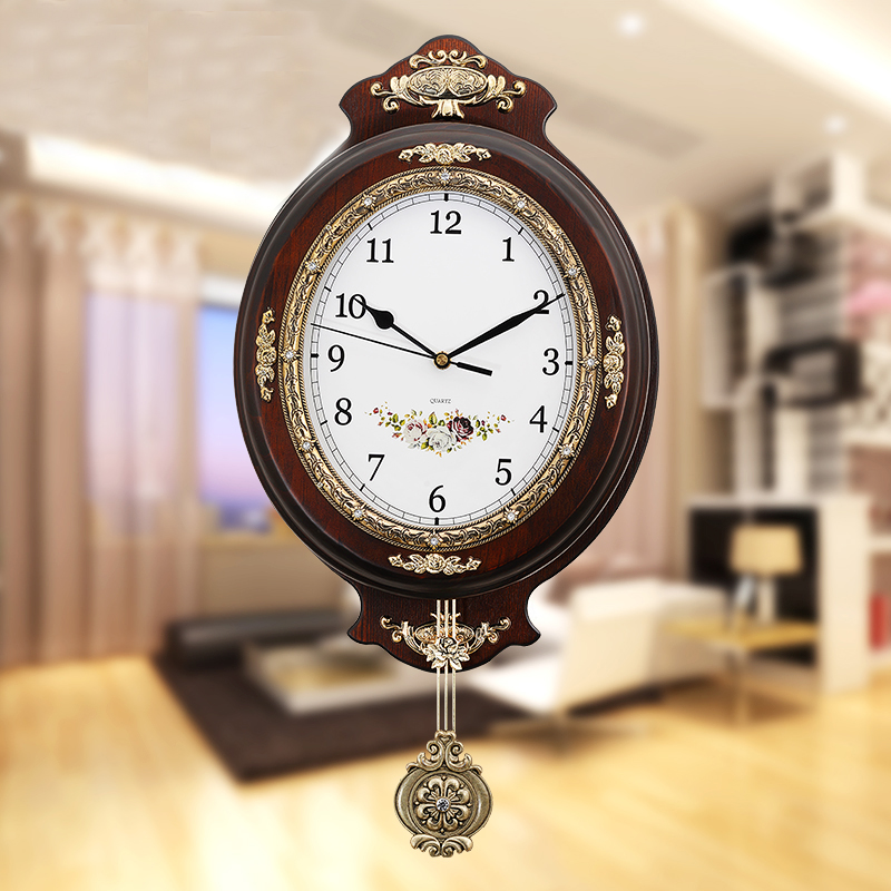 Bois Vintage grande horloge murale Design moderne horloges européennes avec pendule muet Quartz horloge mouvement décor à la maison salon