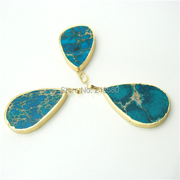 H-SP163 Teardrop Green Imperial Sediment Jaspers Stone Pendants with Electroplated Gold  Bail