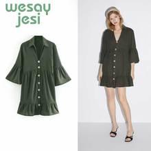 Dress Women Elegant Vintage green vestidos 2019 casual style long sleeve  button A-line sexy mini de fiesta party dress