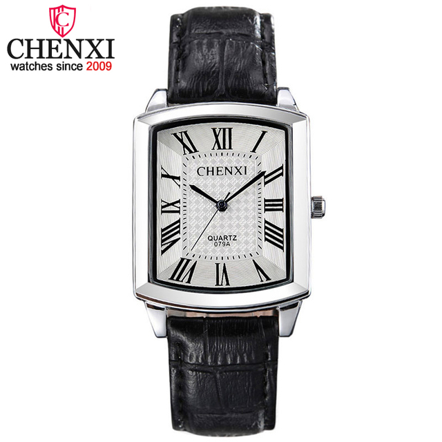 CHENXI Brand Fashion Casual Men Watches Luxury Women Watch Hot Leather Strap Squ