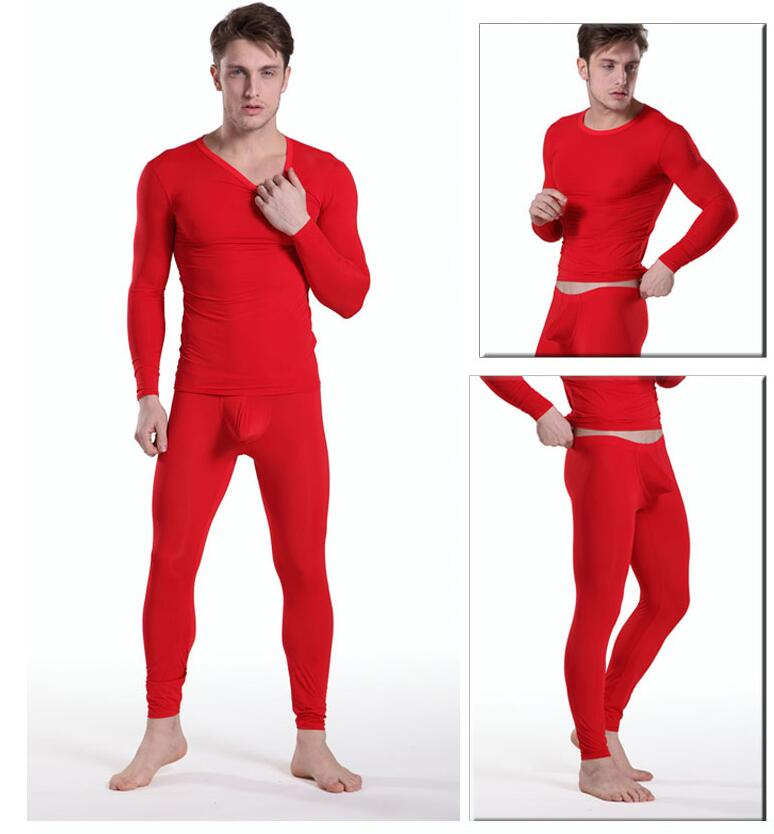 Sexy Men Silk Tight Pajama Sets Male Transparent Bulge Nightgown Long Sleeve Sleepwear Top + Pants for Man Nightweear M L XL