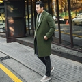 2017 Medium Long Winter Wool Coat Men Jacket Overcoat New Turn-down Collar Cashmere Coat Men Brand-Clothing Black Men's Coats