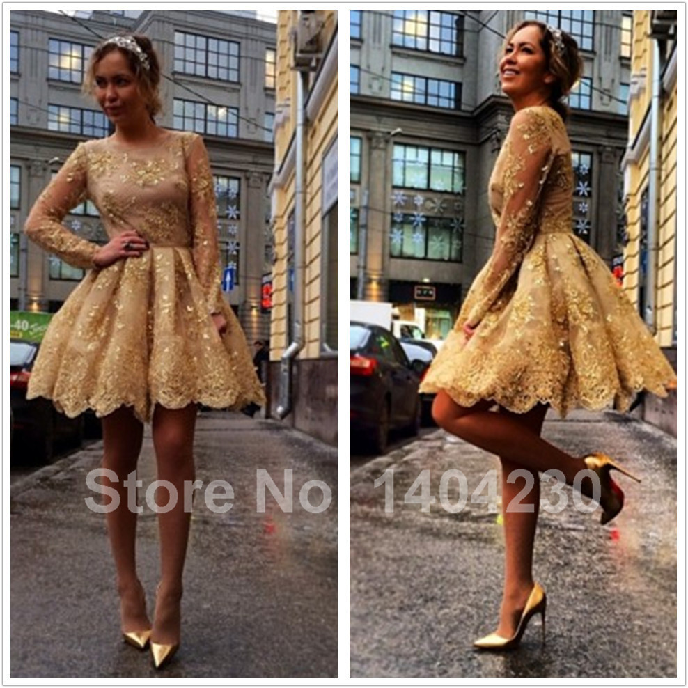 Popular Gold Cocktail Dress Long Sleeve-Buy Cheap Gold Cocktail ...