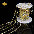 6mm Gold Plated Wire Wrapped Beaded Chain Light Blue Glass Faceted Flat Round Coin Beads Rosary Chain LS063
