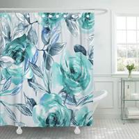 샤워 커튼 후크 블루 추상 장미 수채화 다채로운 피는 색 그리기 꽃 꽃 장식 욕실
