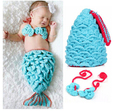 newborn photography props crochet baby clothes infant mermaid baby costume Knitting Baby Hat Warm Cute Mermaid baby boy hat caps