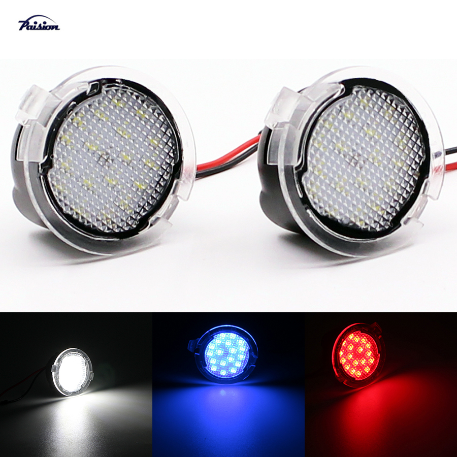 2pcs Rearview Mirror Puddle Light LED Mirror Puddle Lights For Audi S4 B5 B6