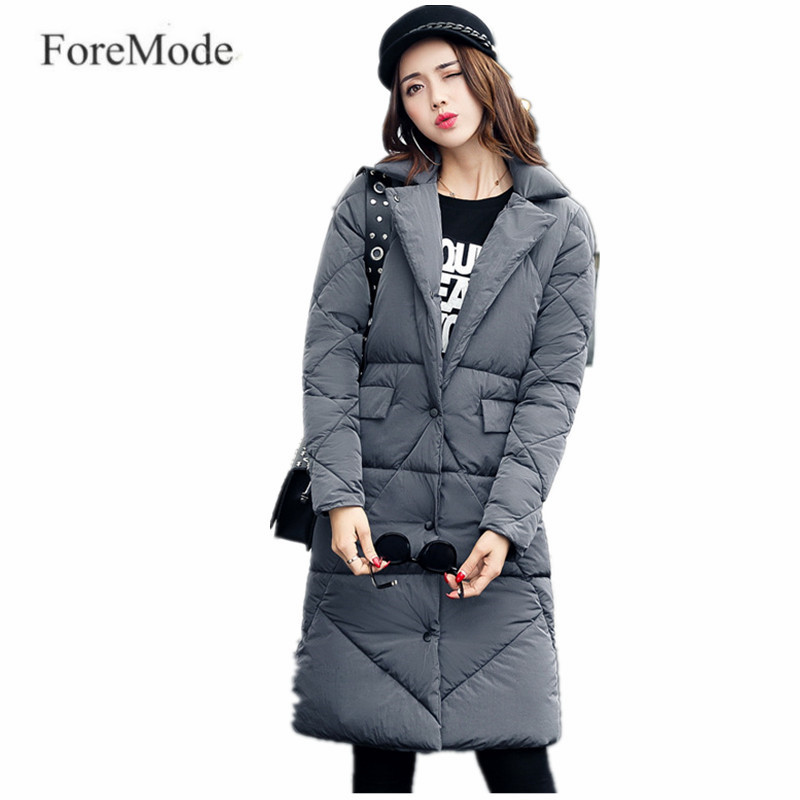 ForeMode Winter Long Cotton-padded Clothes More Female Suit Collar Show Thin Down Cotton-padded Jacket Winter Jacket Coat таймер show more 220v 10a kg01