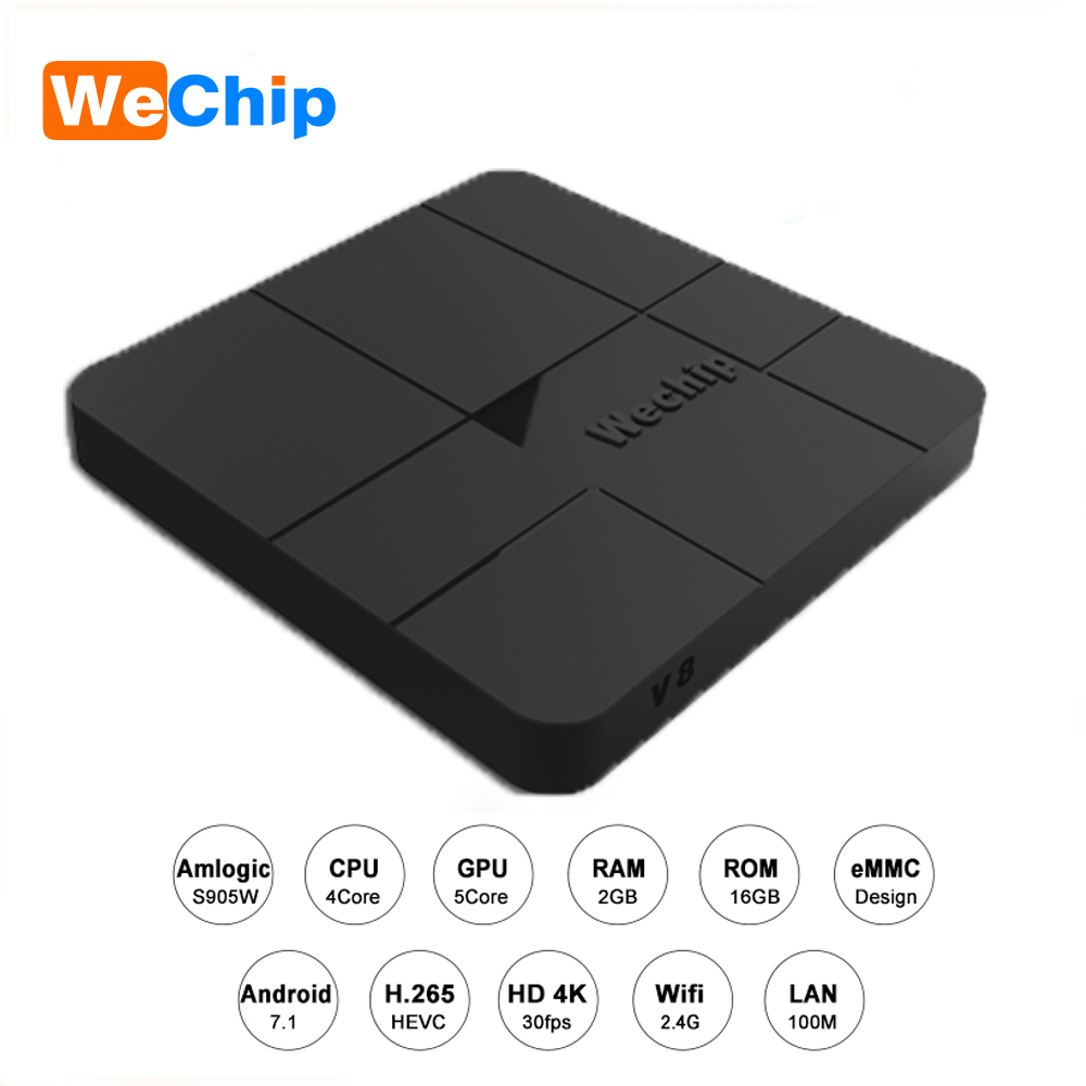 Wechip V8 Android 7.1 Smart TV Box Set Top Box Amlogic S905W Quad-core Cortex-A53 2.4GHz WiFi 4K Media Player 1G/8G 2G/16G BOX mx plus amlogic s905 smart tv box 4k android 5 1 1 quad core 1g 8g wifi dlna потокового tv box