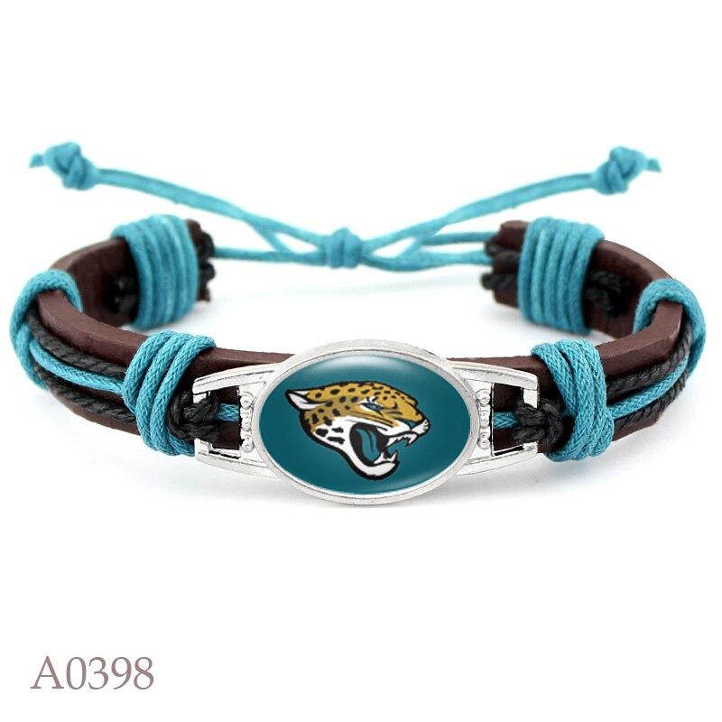 10 PCS Jacksonville Jaguars Football Team Real Leather Bracelet Adjustable Mens Real Leather Bracelet For Women Men Jewelry