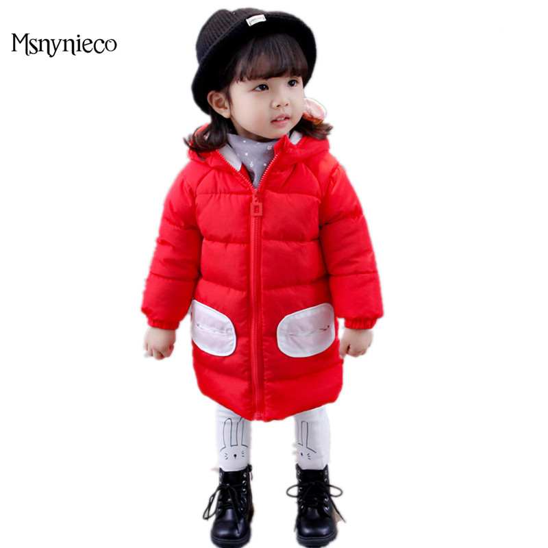 Winter Baby Girl Coats Kids Warm Long Thick Hooded Jacket for Girls 2017 Casual Toddler Girls Clothes Children Outerwear sweater girls yellow 80% wool knit clothes children child cardigan girl coats winter girl clothes kids sweaters toddler knitted