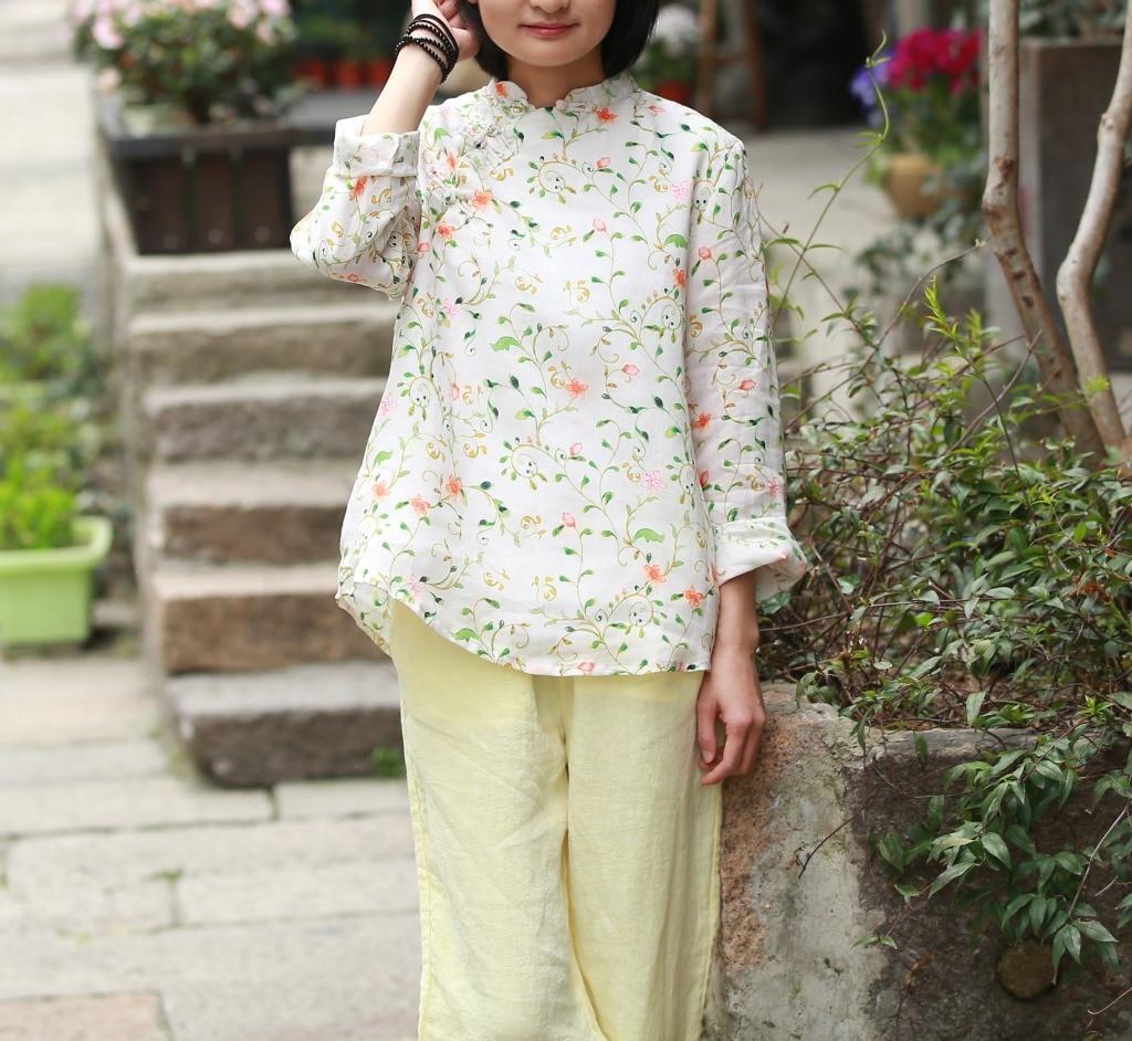 New Spring Summer Zen Art Stand Collar Small Plate Buttons Shirt Loose Large Size Double Ramie Print Shirt
