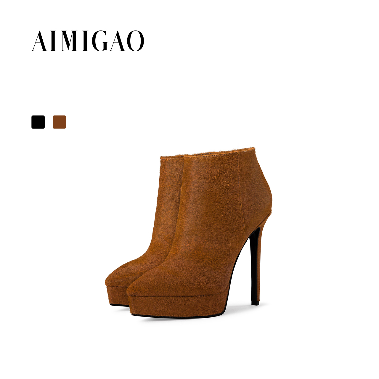 где купить AIMIGAO Sexy high heel platform ankle boots women side zipper fashion women boots pointed toe boots shoes 2017 autumn winter new по лучшей цене