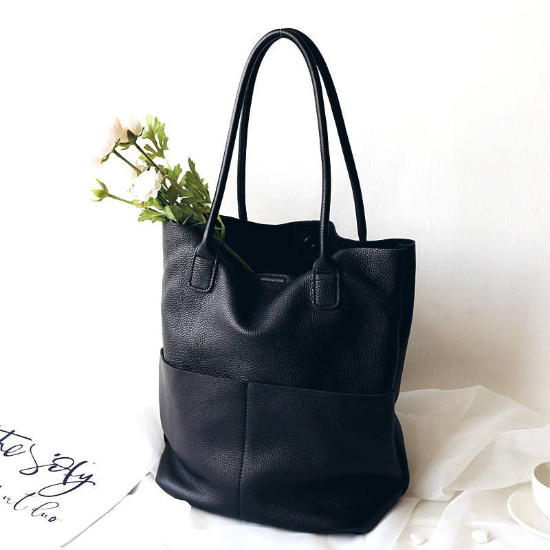 2019 Winter Large Capacity Tote Bag 100% Natural Leather Women Bucket Bag Big Cowhide Lades Hand Bag High Quality Shoulder Bag-in Shoulder Bags from Luggage & Bags    1