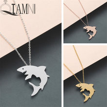 QIAMNI Trendy Cute Animal White Shark Pendant Necklace Collars Minimalist Dolphins Chain Necklace Birthday Jewelry Gifts Charm(China)