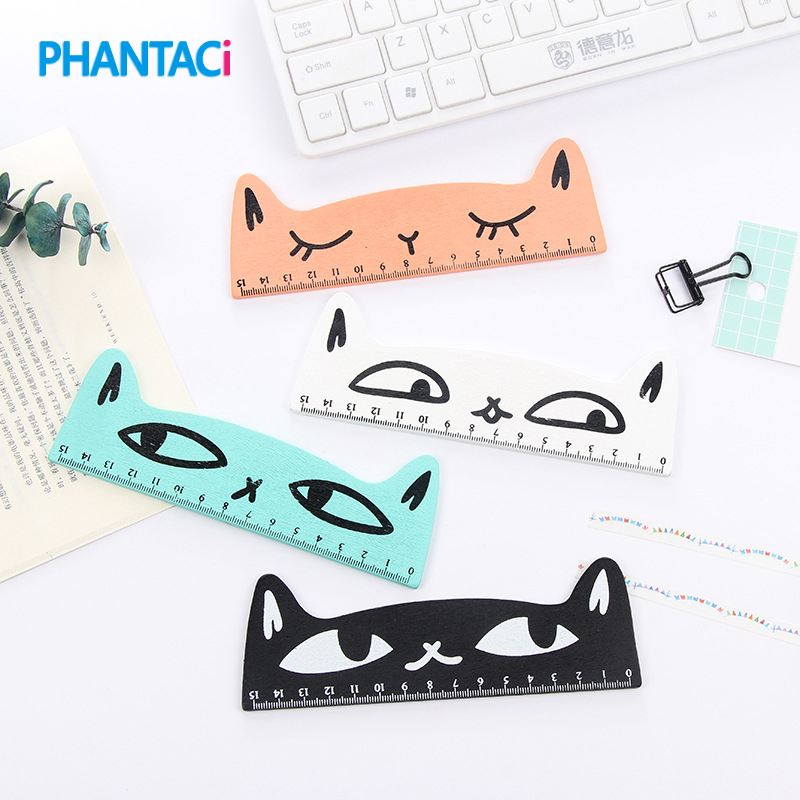 15cm Cute Kawaii Cartoon Cat Wooden Parallel School Straight Ruler For Painting Drawing Korean Sdudent Office Stationery
