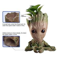 Flower Pot Baby Groot Flowerpot Cute Toy Pen Holder Model PVC Hero Tree Man Garden Plant Dropshipping