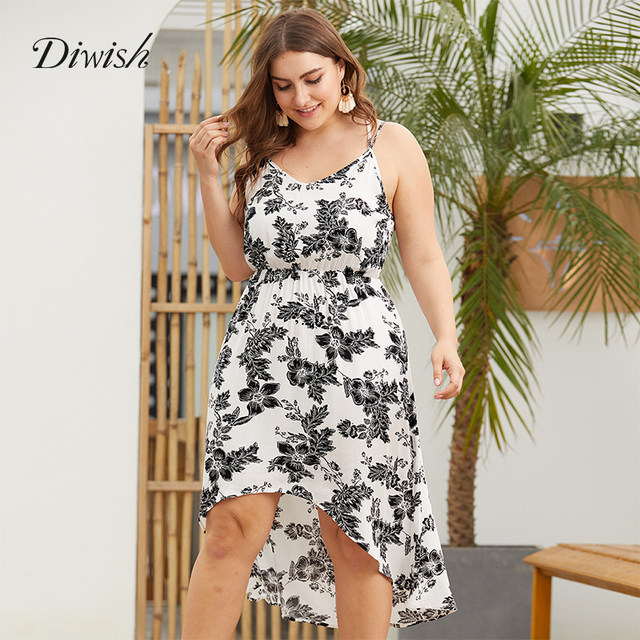 Diwish Women Summer Beach Dress Sexy Print V Neck Dress Sleeveless Backless Spaghetti Strap Dress Plus Size Women Dresses XL-4XL