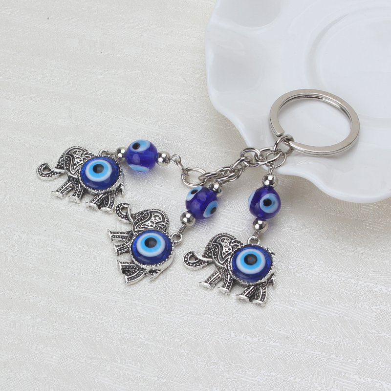 Lucky  Blue Evil Eye Charms Keychain Elephant Pendent Key Chain Alloy Tassel Car Key Chain Fashion Jewelry Gifts 12cm