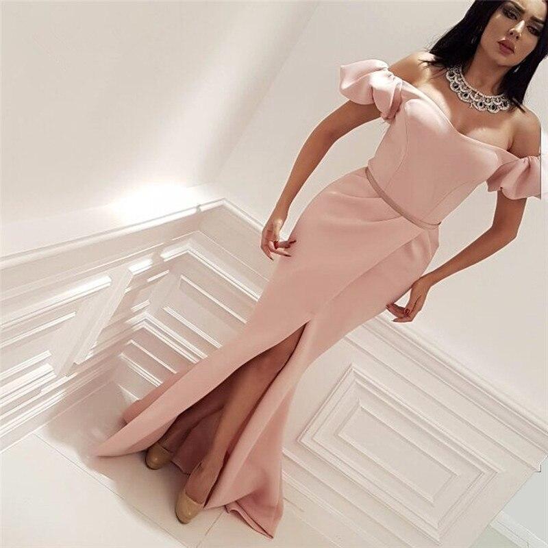 Muslim Pink   Prom     Dress   2018 Mermaid Sleeves Satin Cut Sexy Islamic Formal Dubai Saudi Arabian Long Elegant Evening   Dress