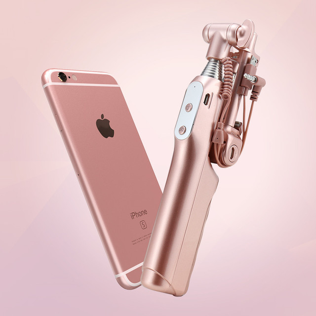 Floveme luxo wired monopé extendable handheld selfie vara beleza tiro universal kickstand telefone self-timer para ios android