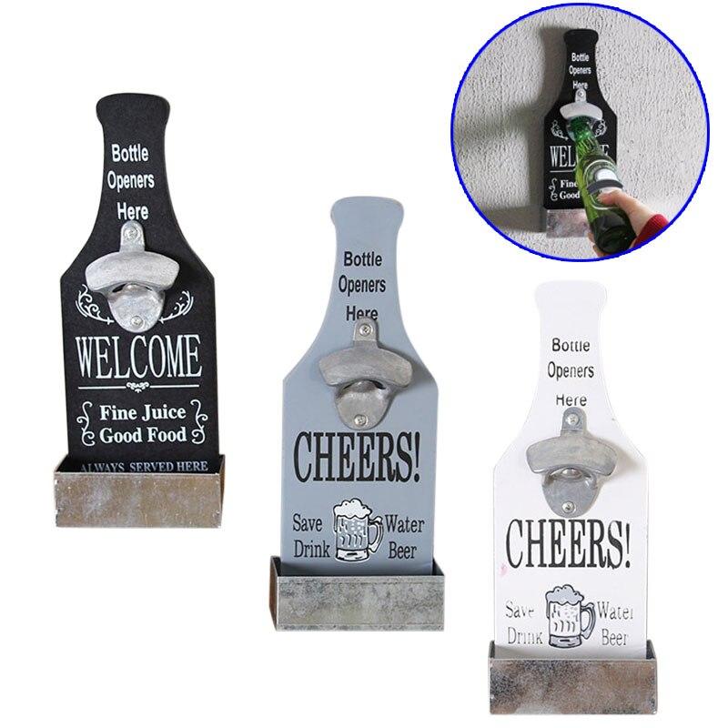 Creative Wall Mounted Bottle Opener Beer Bottle Opener Wood Wall Mounted Vintage Home Bar Restaurant Decoration