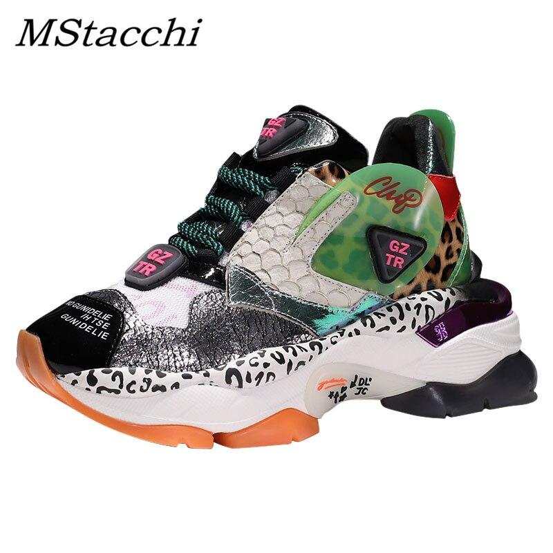 Mstacchi nova mulher graffiti leopardo impressão plataforma tênis senhoras rendas sapatos mulher malha pai tênis altura crescente sapatos
