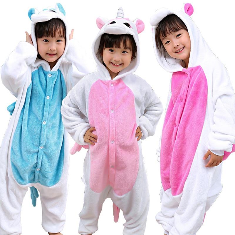 1665bdb6b0 ... Boys Girls Flannel Star Unicorn Pajamas Kigurumi Overalls Jumpsuit Kids  Children Giraffe Panda Cosplay Costume Blanket ...