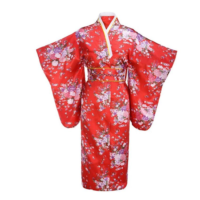 ٩(^‿^)۶Moda vestido de noche rojo japonés mujer tradición yukata ...