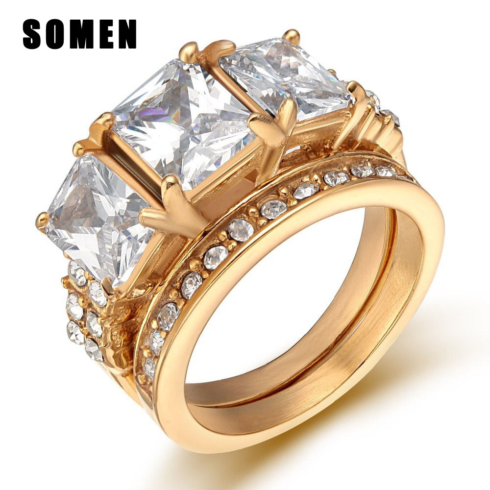 Luxury Clear Cubic Zirconia Antlers Stainless Steel Rings Gold Color Women Wedding  Ring Set Elegant Fashion