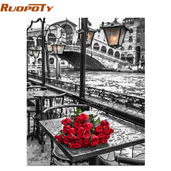RUOPOTY Frame DIY Painting By Numbers Romantic Street Modern Wall Art Canvas Painting Hand Painted Unique Gift For Home Decor