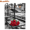 RUOPOTY Picture DIY Painting By Numbers Romantic Street Modern Wall Art Canvas Painting Hand Painted Unique