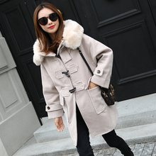 Buckhorn Button Overcoat Female Middle And Long Term Korean Student College Wind Japanese Wool Coat Imitation Fur Woolen Blends