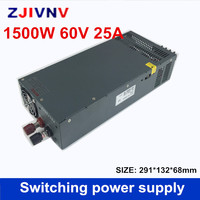 Регулируемый DC 60 В 25A 1500 Вт переключатель Питание драйвер Трансформатор 110 V 220 V AC к DC 60 В SMPS для шагового CNC CCTV 3D принтеры
