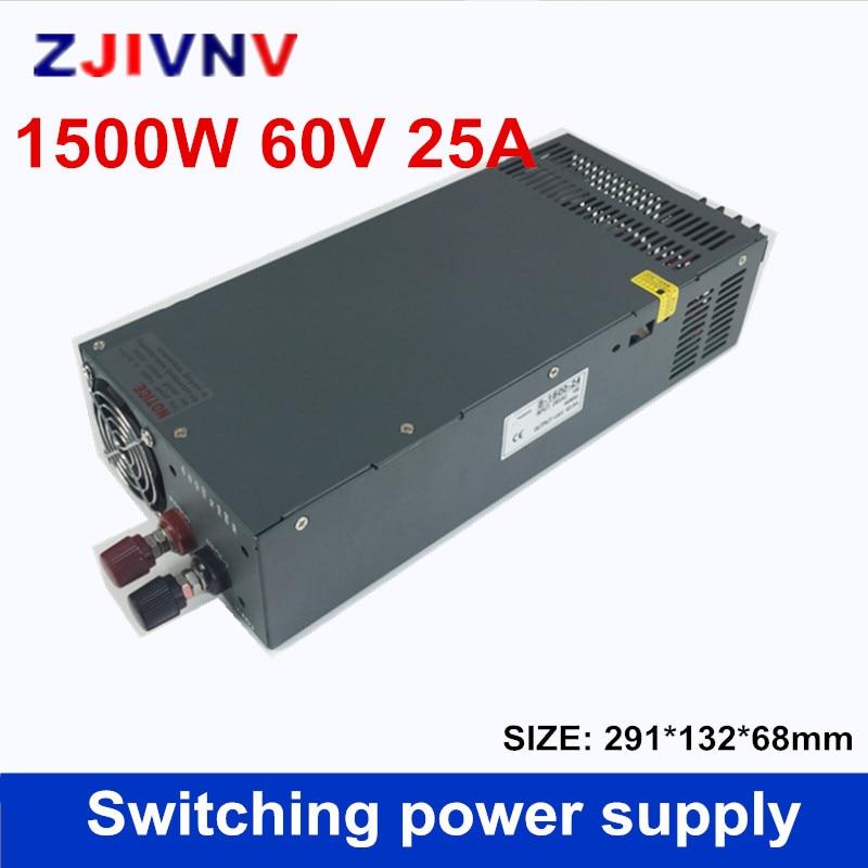 Réglementé DC 60 v 25A 1500 w Interrupteur Alimentation Pilote Transformateur 110 v 220 v AC à DC 60 v SMPS pour Stepper CNC CCTV 3D Imprimante