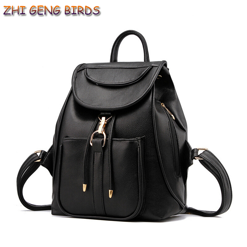 ZHI GENG BIRDS Women Backpack High Quality Bag PU Leather Mochila String School Bags For Teenagers Girls Top-handle Backpacks new arrival women pu leather backpacks female school bags for teenagers simple couple shoulder bag string bag mochila feminina