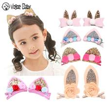 2pcs/Set Cute Hair Clips For Girls Glitter Rainbow Felt Fabric Flowers Hairpins Cat Ears Bunny Barrettes Kids Hair Accessories(China)