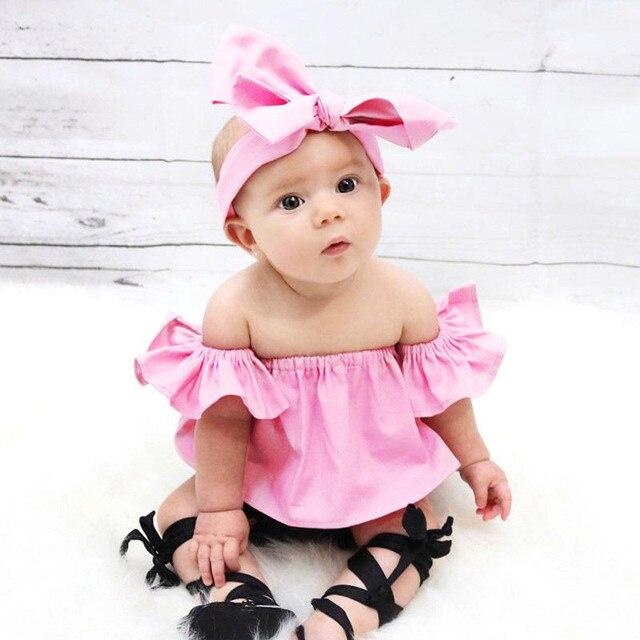 b846033ce3b0 Newborn Baby Girls Princess Ruffle T-shirt Tops New Fashion Cute Baby Girls  Off Shoulder Crop Top T-shirt Summer Sunsuit