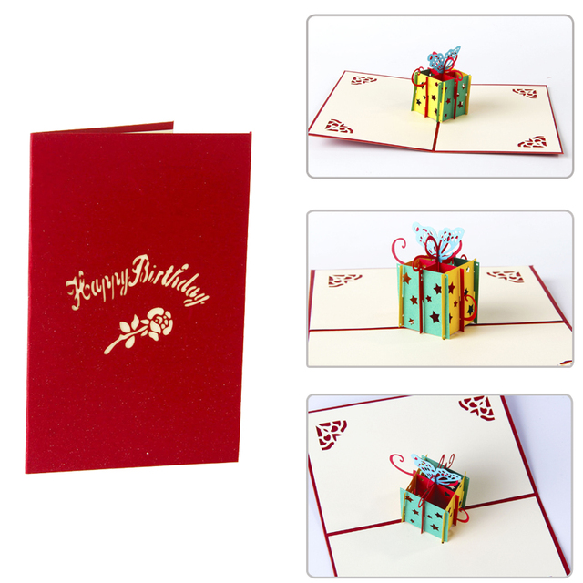 5pcs Newest 3D Birthday Greeting Card DIY Postcard Best Party Gift Cards For Friends