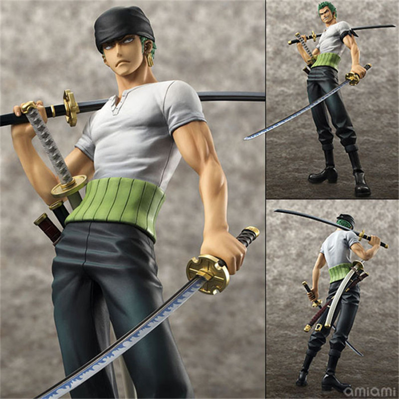 24cm PVC One Piece Anime Action Figure Toy Roronoa Zoro, One Piece Roronoa Zoro Figure Model, Brinquedos, Toys For Children anime one piece zoro and dracula mihawk model garage kit pvc aaction figure classic variable action toy doll