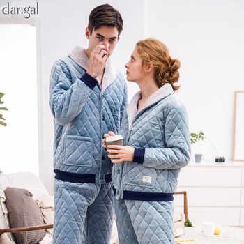 Dangel カップルパジャマ男性女性パジャマサンゴフリース冬暖かい長袖カップルパジャマカジュアル厚く暖かいカップルパジャマ