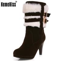 KemeKiss boyutu 30-48 kadınlar yüksek topuk yarım kısa çizmeler kış martin kar botas moda ayakkabı sıcak topuklar boot ayakkabı P2550
