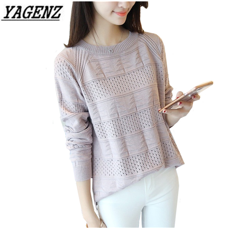 Pullover Short Thin Sweater Knitted O-Neck Spring Women Autumn Long-Sleeved Casual Solid